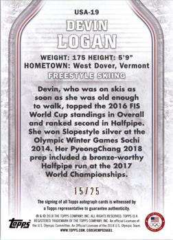2018 Topps U.S. Olympic & Paralympic Hopefuls - Autographs - Gold #USA-19 Devin Logan Back