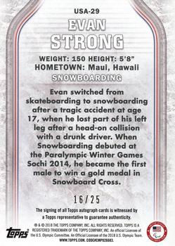2018 Topps US Olympic & Paralympic Hopefuls - Autographs - Gold #USA-29 Evan Strong Back