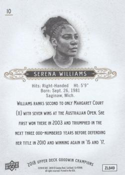 2018 Upper Deck Goodwin Champions #10 Serena Williams Back