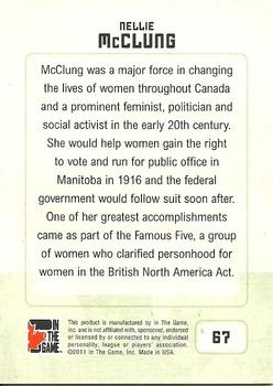 2011 In The Game Canadiana #67 Nellie McClung Back