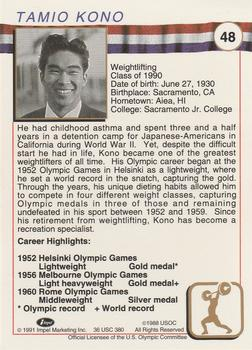 1991 Impel US Olympic Hall of Fame #48 Tommy Kono Back