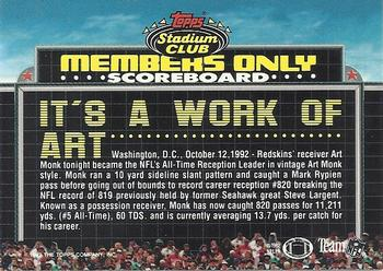 1992 Stadium Club Members Only #39 Art Monk Back