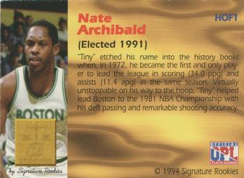 1994 Signature Rookies Gold Standard - Hall of Fame #HOF1 Nate Archibald Back
