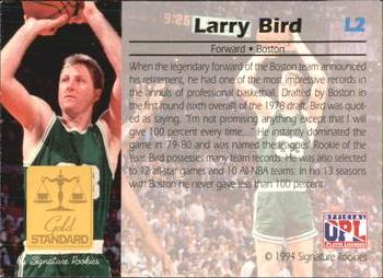 1994 Signature Rookies Gold Standard - Legends #L2 Larry Bird Back