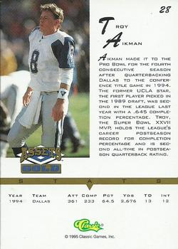 1995 Classic Assets Gold #28 Troy Aikman Back