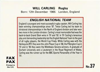 1993 Fax Pax World of Sport #37 Will Carling Back