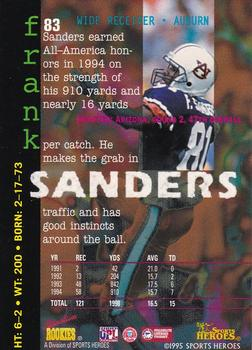 1995 Signature Rookies Fame and Fortune #83 Frank Sanders Back