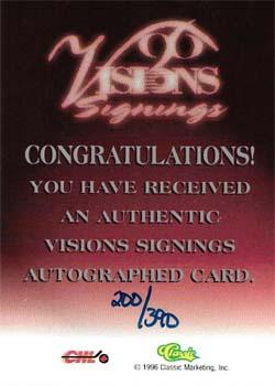 1996 Classic Visions Signings - Autographs Silver #11 Daniel Briere Back