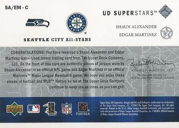 2002-03 UD SuperStars - City All-Stars Dual Jersey #SAEM Shaun Alexander / Edgar Martinez Back
