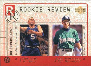 2002-03 UD SuperStars - Rookie Review #R7 Jason Kidd / Alex Rodriguez Front