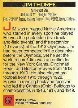 2000 Sports Illustrated for Kids #867 Jim Thorpe Back