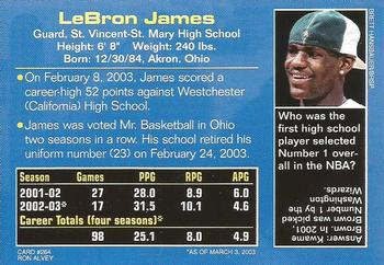 2003 Sports Illustrated for Kids #264 LeBron James Back