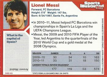 2011 Sports Illustrated for Kids #51 Lionel Messi Back