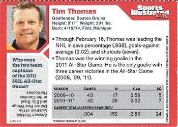 2011 Sports Illustrated for Kids #26 Tim Thomas Back