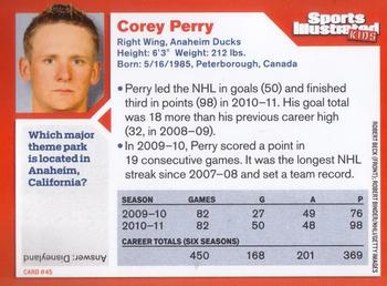 2011 Sports Illustrated for Kids #45 Corey Perry Back