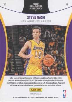 2012 Panini Black Friday #11 Steve Nash Back
