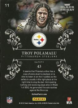 2012 Panini Black Friday Collection #11 Troy Polamalu Pittsburgh Steelers Card