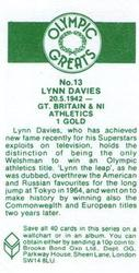 1979 Brooke Bond Olympic Greats #13 Lynn Davies Back
