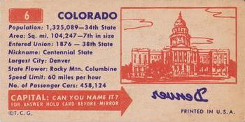 1953 Topps License Plates #6 COLORADO Back