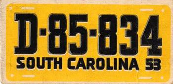 1953 Topps License Plates #46 SOUTH CAROLINA Front