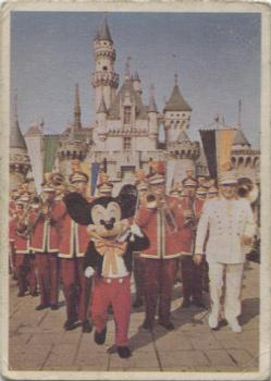 1965 Donruss Disneyland Blue Back #58 Mickey Mouse Leads the Disneyland Band in Front of Sleeping Beauty's Castle Front