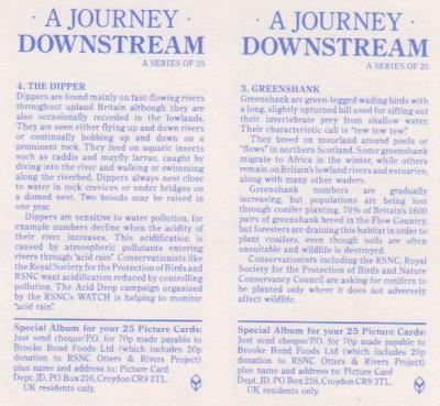1990 Brooke Bond A Journey Downstream (Double Cards) #3-4 Greenshank / The Dipper Back