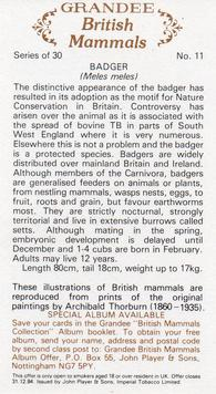 1982 John Player & Sons Grandee British Mammals (Imperial Tobacco Limited) #11 Badger Back