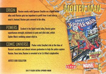 2017 Fleer Ultra Marvel Spider-Man #6 Molten Man Back