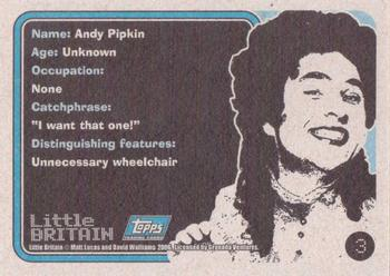 2006 Little Britain Collector Cards #3 Andy Pipkin Back