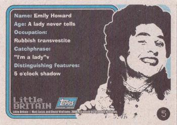 2006 Little Britain Collector Cards #5 Emily Howard Back