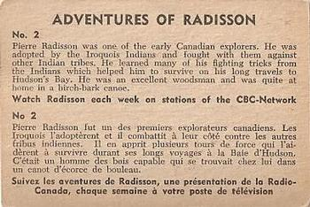 1957 Parkhurst Adventures of Radisson #2 Pierre Radisson was one of the early Canadian Back