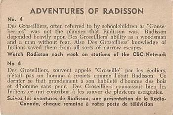 1957 Parkhurst Adventures of Radisson (V339-1) #4 Des Groseilliers, often referred to Back