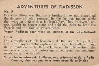 1957 Parkhurst Adventures of Radisson #5 Des Groseilliers was Radisson's brother-in-law Back
