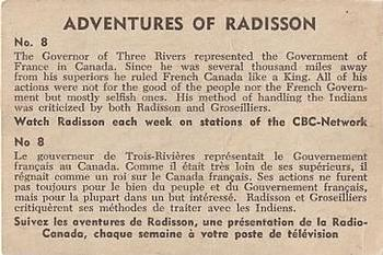1957 Parkhurst Adventures of Radisson (V339-1) #8 The Governor of Three Rivers represented Back