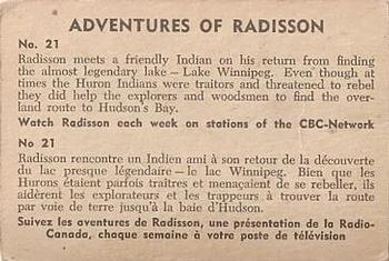 1957 Parkhurst Adventures of Radisson (V339-1) #21 Radisson meets a friendly Indian on his return Back