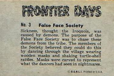 1953 Bowman Frontier Days #3 False Face Society Back