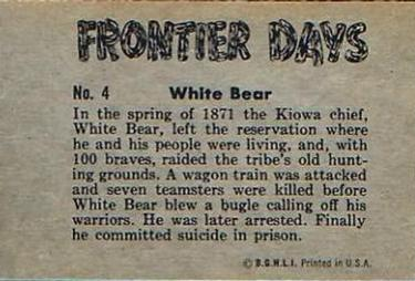1953 Bowman Frontier Days #4 White Bear Back