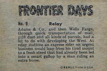 1953 Bowman Frontier Days (R701-5) #9 Relay Back