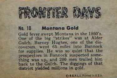 1953 Bowman Frontier Days (R701-5) #10 Montana Gold Back