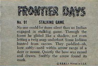 1953 Bowman Frontier Days #91 Stalking Game Back