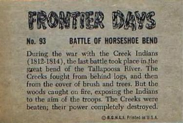 1953 Bowman Frontier Days (R701-5) #93 Battle of Horseshoe Bend Back
