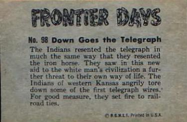 1953 Bowman Frontier Days #98 Down Goes the Telegraph Back