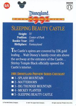 1991 Upper Deck Disneyland Preview Series #5 Sleeping Beauty Castle Back