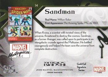 2018 Marvel Masterpieces Trading Card #14 Sandman //1999