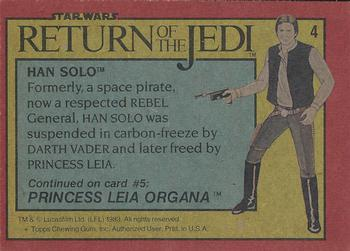 1983 Topps Return Of The Jedi #4 Han Solo Back