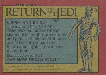 1983 Topps Return Of The Jedi #8 C-3PO and R2-D2 Back