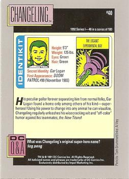 1992 Impel DC Comics #40 Changeling Back