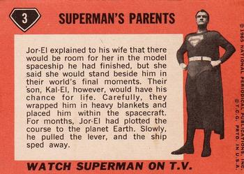 1966 Topps Superman #3 Superman's Parents Back