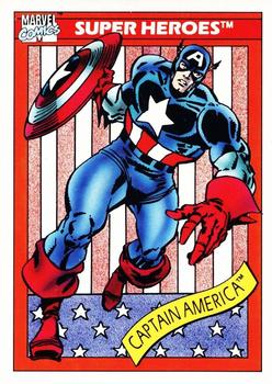 1990 Impel Marvel Universe #1 Captain America Front