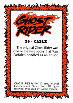 1992 Comic Images Ghost Rider II - Glow in the Dark #G9 Cable Back